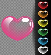 Colorful heart translucent for Valentine day and wedding concept Stock Illustration