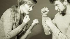 People in fight. Young couple arguing. Stock Photos