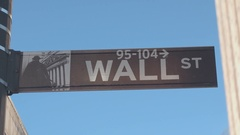 CLOSE UP: Wall Street street sign in Lower Manhattan borough of New York City Stock Footage