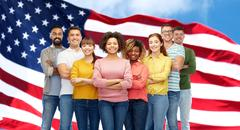 International group of people over american flag Stock Photos