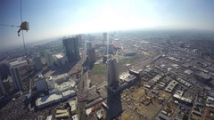 Aerial zooming timelapse video of the city center, from the stratosphere to.. Stock Footage