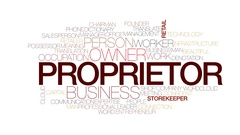 Proprietor animated word cloud, text design animation. Kinetic typography. Stock Footage