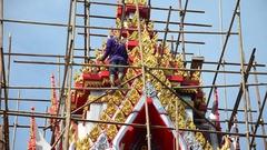 Asian thai worker people renovate and repair restore chedi at Wat Muang Stock Footage