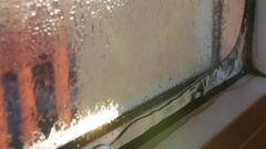 Dewy glass slider Stock Footage