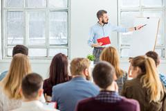 Speaker at Business Meeting in the conference hall Stock Photos