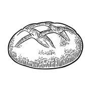 Loaf of bread. Vector black hand drawn vintage engraving Stock Illustration