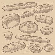 Set bread. Vector black vintage engraving Stock Illustration