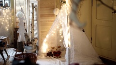Christmas Interior Decorations in the Photo Studio Pan View Stock Footage