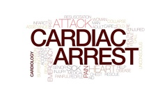 Cardiac arrest animated word cloud, text animation. Kinetic typography. Stock Footage