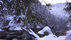 4k Winter season in rough Harz mountain forest range with rocks and water stream Stock Footage