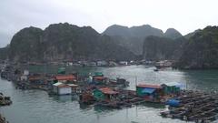 Floating fishing village Stock Footage