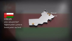 3D animated Map of Oman Stock Footage