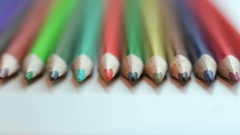 Color pencils on white table Stock Footage