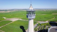 Aerial view of the lighthouse of Verzenay Stock Footage