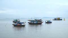 Group of traditional Vietnamese boats Stock Footage