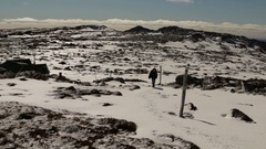 Female walking through snowy landscape in Ben Lomond NP Stock Footage