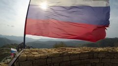 Ragged Russian flag fluttering on wind Stock Footage
