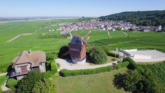 Aerial view of windmill of Verzenay Stock Footage