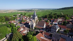 Aerial view of Ville Dommange Stock Footage