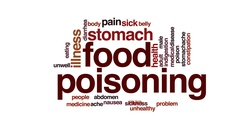 Food poisoning animated word cloud, text design animation. Stock Footage