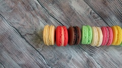 Colorful sweet macaroons Stock Footage