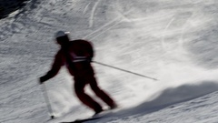 Ski slope - skier down the hill Stock Footage