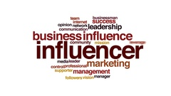 Influencer animated word cloud, text design animation. Stock Footage