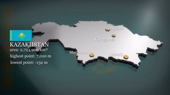 3D animated Map of Kazakhstan Stock Footage