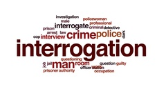 Interrogation animated word cloud, text design animation. Stock Footage