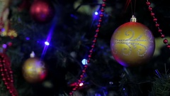 Christmas and New Year tree decoration, garland and toys Stock Footage