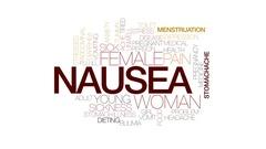 Nausea animated word cloud, text design animation. Kinetic typography. Stock Footage
