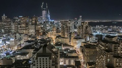 San Francisco Financial District Dusk to Night Stock Footage