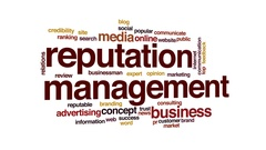 Reputation management animated word cloud, text design animation. Stock Footage