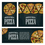 Set posters poster slice pizza Pepperoni, Hawaiian, Margherita, Mexican, Se.. Piirros