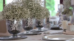 Wedding table and decoration Stock Footage