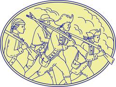 American Revolutionary Soldiers Marching Oval Mono Line Stock Illustration