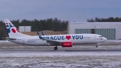 Travel Service logo jet Boeing 737 Prague loves you touchdown runway Stock Footage