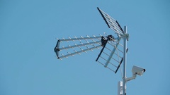 The antenna from a tower in the town in Paldiski Stock Footage