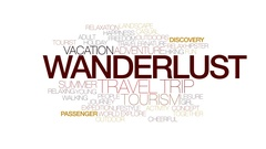 Wanderlust animated word cloud, text design animation. Kinetic typography. Stock Footage