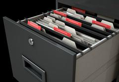 Filing Cabinet Drawer Open Confidential Piirros
