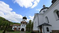 Look around at beatiful white church under deep blue sky Stock Footage