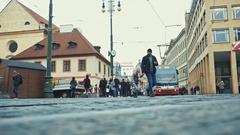 Prague, Czech Republic - December 24, 2016: Prague historic tram. With 500 km of Stock Footage