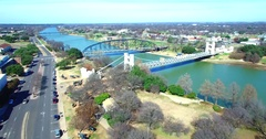 Aerial Footage - Flight Over The Front Of The Branding The Brazos Sculpture Stock Footage