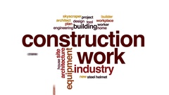 Construction work animated word cloud, text design animation. Stock Footage