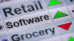 Software index on the screen. Up. Looping. Stock Footage