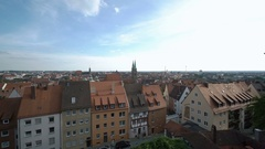 Look from above at old European city with red and green roofs Stock Footage