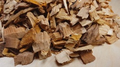Wood chips for smoking or recycle rotate on the table. Stock Footage