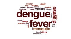 Dengue fever animated word cloud, text design animation. Stock Footage