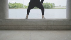 Young woman twerking Stock Footage
