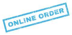 Online Order Rubber Stamp Stock Illustration